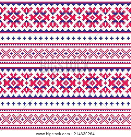 Seamless folk art pattern, Lapland traditional design, Sami vector seamless background Scandinavian, Nordic style