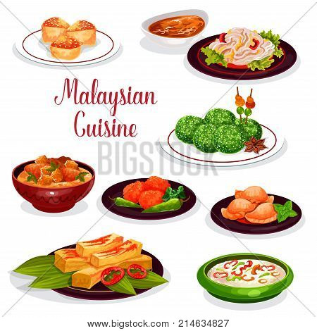 Malaysian cuisine restaurant dinner icon. Rice risotto, chicken potato stew, meat curry pie, fried zucchini with chilli sauce, shrimp pancake, bean sprout salad, coconut dessert, vanilla cake
