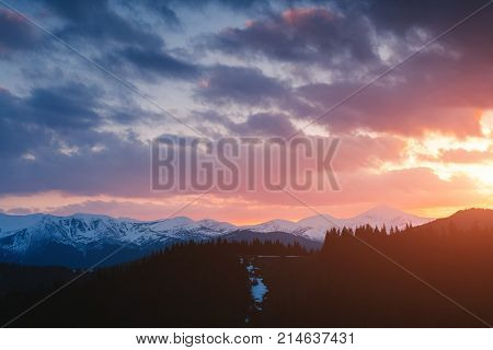 Impressive view of the remote hills. Location Carpathian, Ukraine, Europe. Picture of wild area. Scenic image of hiking concept. Moody weather. Explore the beauty of earth. Explore the environment.