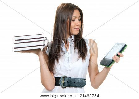 Woman compare books and new wireless reading digital book Device. She holds books and ebook reader in hands like balance isolated over white background poster