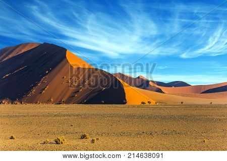 Sharp border of light and shadow over the crest of the dune. The Namib-Naukluft park at sunset. The concept of extreme and exotic tourism