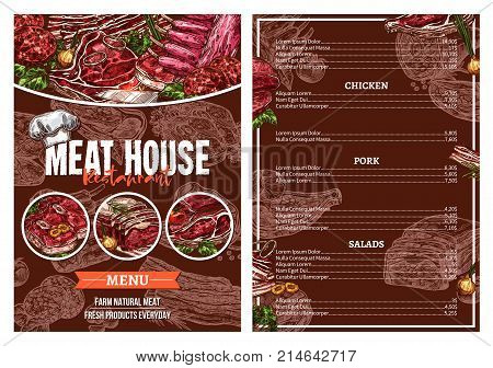 Barbecue meat menu card for restaurant brochure template. Grill beef and pork steak, bbq sausage, lamb chop, bacon, chicken, veal sirloin and ribs sketch poster set for steak house or grill bar design