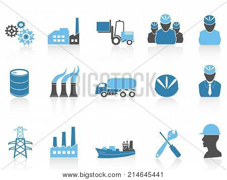 isolated blue color series industry icons set on white background
