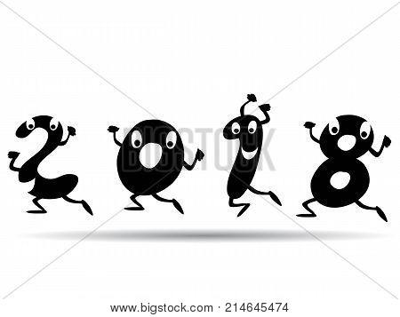 isolated cartoon style of happy 2018 background