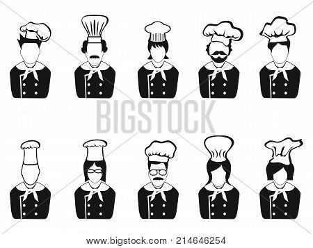 isolated chefs head icon on white background