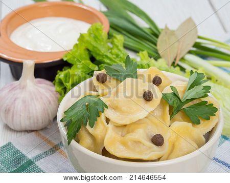 Russian Dumplings With Greens. Russian Traditional Dish