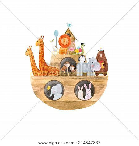 Beautiful baby vector illustration with watercolor noah ark with cute animals on transparent background