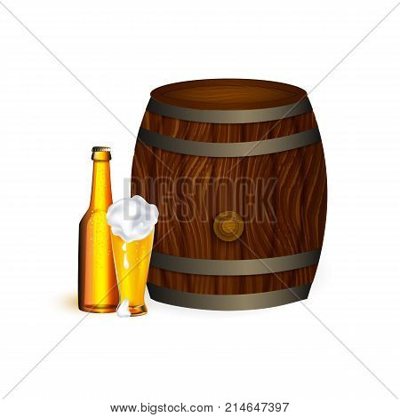vector realistic beer wooden oak keg barrel with iron rings, glass, bottle of lager golden drink with thick foam set. Ready for your design product mockup. Isolated illustration on a white background.