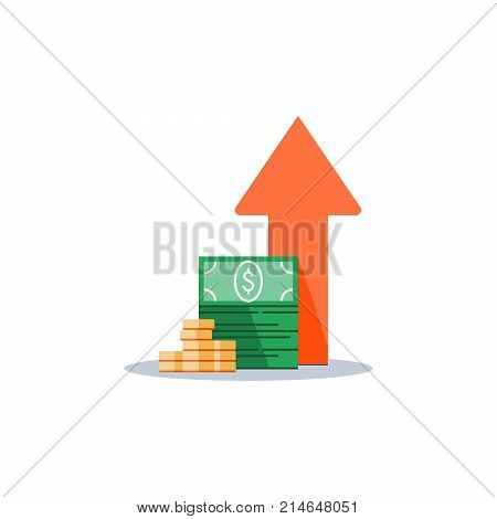 Income increase, financial strategy, high return on investment, budget balance, fund raising, long term increment, revenue growth, interest rate, loan installment, credit money, vector flat icon