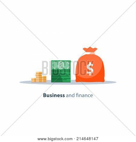 Income growth, financial strategy, return on investment, budget planning, mutual fund, pension savings account, interest rate, business expenses, loan installment, credit money, vector flat icon