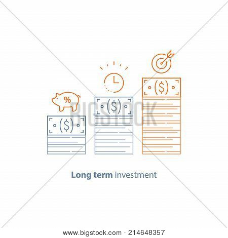 Income increase, financial strategy, investment return, pension savings, fund raising, long term increment, revenue growth, interest rate, bond dividends, stock market, vector line icon thin stroke