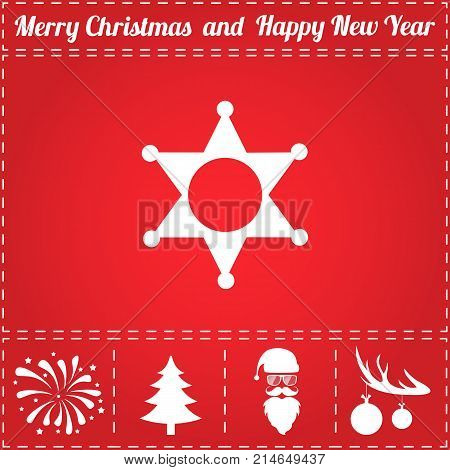 Police Icon Vector. And bonus symbol for New Year - Santa Claus, Christmas Tree, Firework, Balls on deer antlers