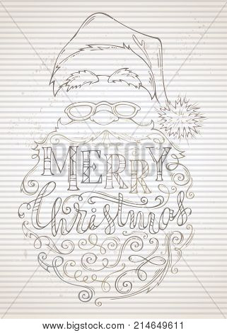 Vector Vintage Merry Christmas Lettering.