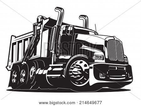 Vector Cartoon Dump Truck. Available EPS-8 vector format separated by groups and layers for easy edit