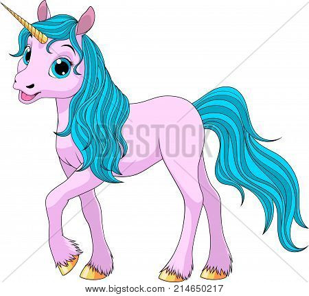 Vector illustration, cute young unicorn, coloring, white background