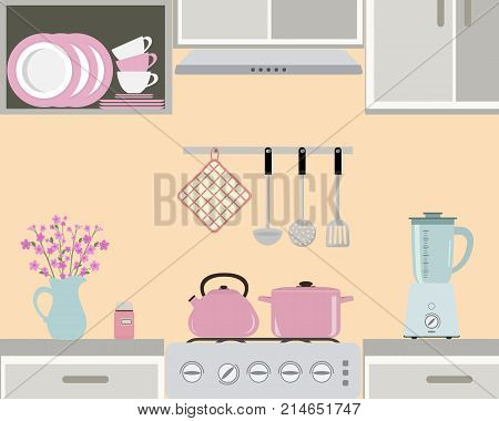 Fragment of a kitchen interior in pink color. Still life. There is a kettle and pan on the stove, also blender, a vase with flowers and other objects in the picture. Vector flat illustration