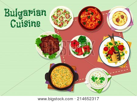Bulgarian cuisine dinner menu icon. Grilled beef kebab, stuffed pepper with cheese, baked fish in tomato sauce, vegetable salad, potato cheese pie, chicken vegetable stew, cream soup, cold yogurt soup