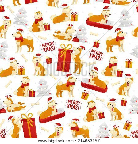 Christmas pattern with dogs and gifts. New Year 2018 seamless pattern with yellow dog symbol of Chinese New Year vector stock illustration, flat design