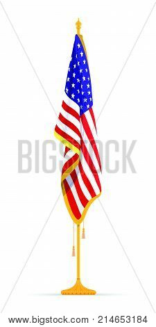 The U.S.A Flag in the Cabinet, hanging on the rack in the room of the American President. The theme of patriotism for Constitution Day. Vector illustration.