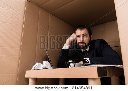 Bored Businessman In Box