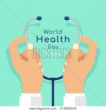 World Health day with hand doctor hold stethoscope vector design