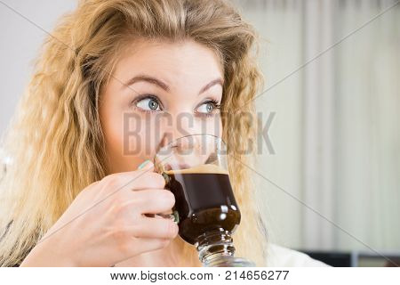 Positive Woman Drinking Her Morning Coffee