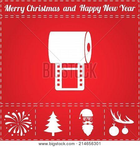 Film Icon Vector. And bonus symbol for New Year - Santa Claus, Christmas Tree, Firework, Balls on deer antlers
