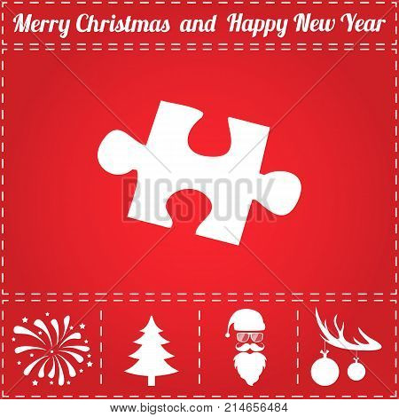 Puzzle Icon Vector. And bonus symbol for New Year - Santa Claus, Christmas Tree, Firework, Balls on deer antlers
