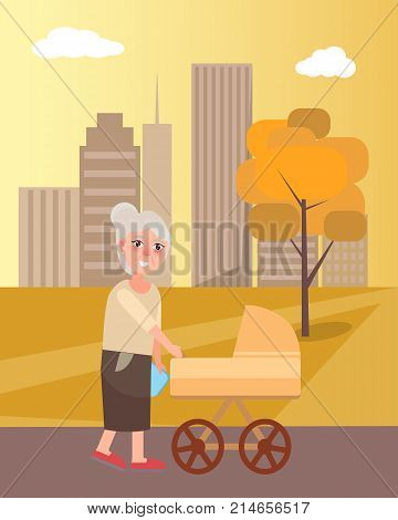 Grandmother walking with newborn toddler in pram in urban city vector at sunset. Two generations grandma and infant on background of skyscrapers