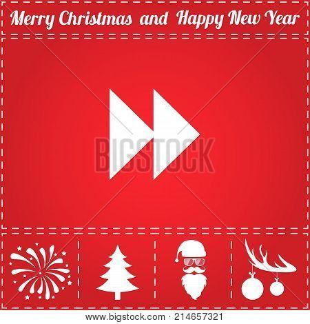 Rewind Icon Vector. And bonus symbol for New Year - Santa Claus, Christmas Tree, Firework, Balls on deer antlers