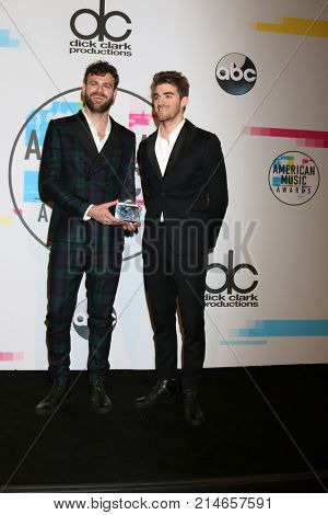 LOS ANGELES - NOV 19:  Alex Pall, Andrew Taggart, The Chainsmokers at the American Music Awards 2017 at Microsoft Theater on November 19, 2017 in Los Angeles, CA
