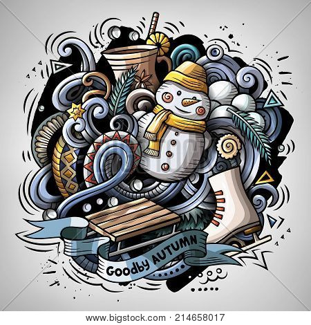 Cartoon vector doodles Winter illustration. Colorful, detailed, with lots of objects background. All objects separate. Bright colors cold season funny round picture