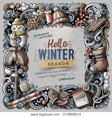 Cartoon vector doodles Winter square frame design. Colorful detailed, with lots of objects illustration. All items are separate. Bright colors seasonal funny border