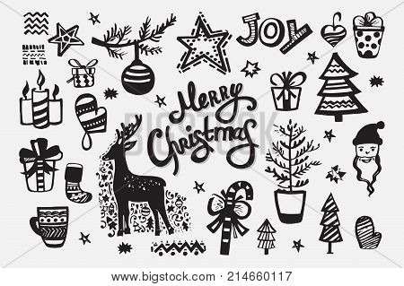 Merry Christmas collection of handdrawn vector elements: christmas ball, reindeer, christmas tree, Santa Claus, gifts, hat, bell, stars, mittens and others. Template with hand drawn xmas lettering.