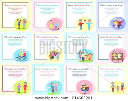 Happy grandparents day posters set with happy senior couple doing daily activities together. Vector illustration of grandma and grandpa with text