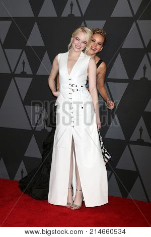 LOS ANGELES - NOV 11:  Emma Stone, Jennifer Lawrence at the AMPAS 9th Annual Governors Awards at Dolby Ballroom on November 11, 2017 in Los Angeles, CA