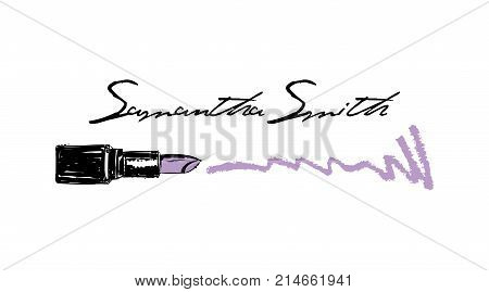 Makeup Artist Business Card. Vector Template With Makeup Items Pattern - Smears Purple Lipstick. Fas
