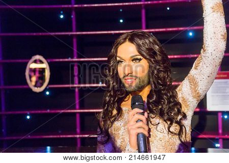 Conchita Wurst Wax Sculpture In Madame Tussauds