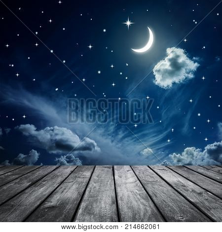 Night sky with stars and moon wooden planks