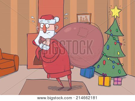 Funny confused Santa Claus with big bag of gifts in room with decoreted Christmas tree and a fireplace. Santa looks embarrassed and lost. Horizontal vector illustration. Cartoon character.