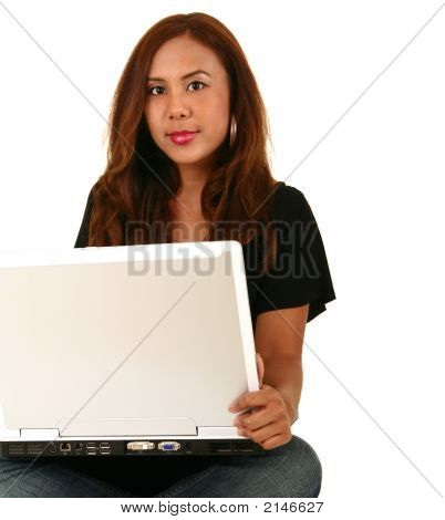 Beautiful Model Holding Laptop And Smile