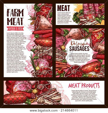 Fresh meat and sausage product sketch banner template set. Beef and pork steak, barbecue sausage, salami, ham, bacon, lamb rib, smoked frankfurter, gammon leg, wurst vector poster for food design
