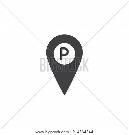 Parking place location pin icon vector, filled flat sign, solid pictogram isolated on white. Map pointer with car parking symbol, logo illustration.