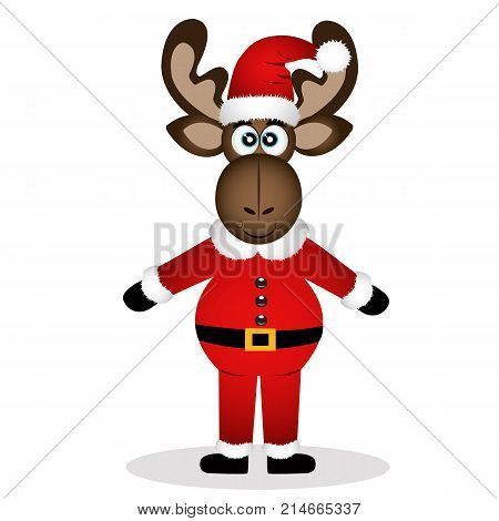Christmas moose isolated on white background. Funny moose in a Santa suit. Vector illustration.