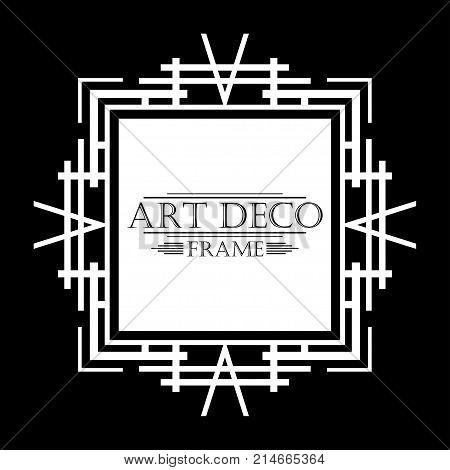 Vintage White Retro Frame In Art Deco Style On Black Background. Template For Design. Vector Illustr