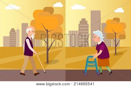 National grandparents day poster depicting elderly man with walking stick and senior woman on walkers in city park vector illustration in flat style