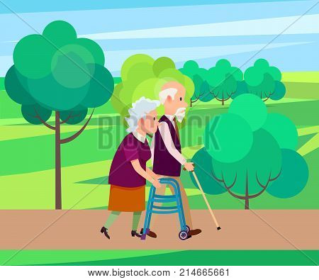 Grandpa with walking stick and senior woman on walkers in city park vector illustration. Old couple spend time together, national grandparents day poster