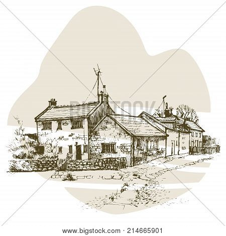 Old English cottage in a village with a stone path. Vector illustration