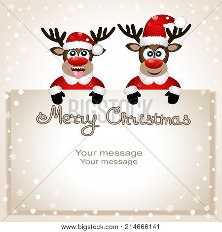 Funny Christmas reindeer with a place for text greeting card. Postcard with Christmas reindeer. Christmas Reindeer catches snowflakes tongue.