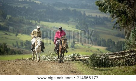 JELDU GOJO, ETHIOPIA-SEPTEMBER 15, 2017: Ethiopian horsemen drive pack animals in rural Ethiopia